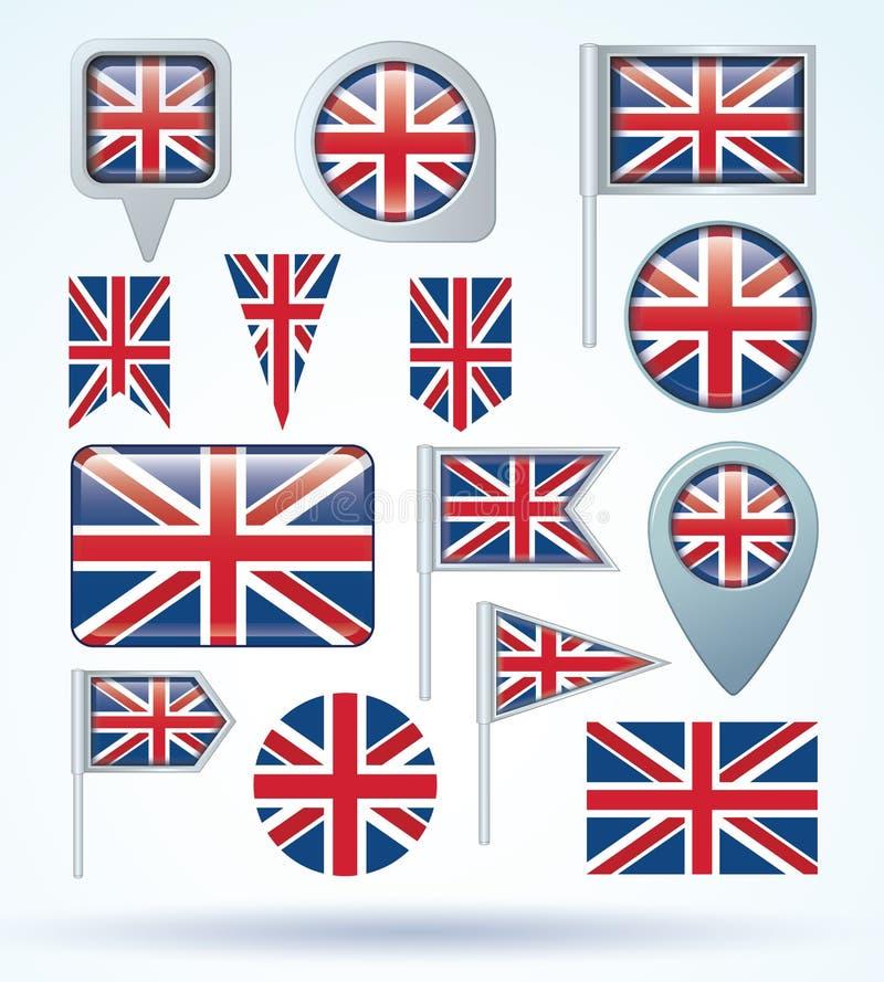 Flaggasamling av England, vektorillustration royaltyfri illustrationer