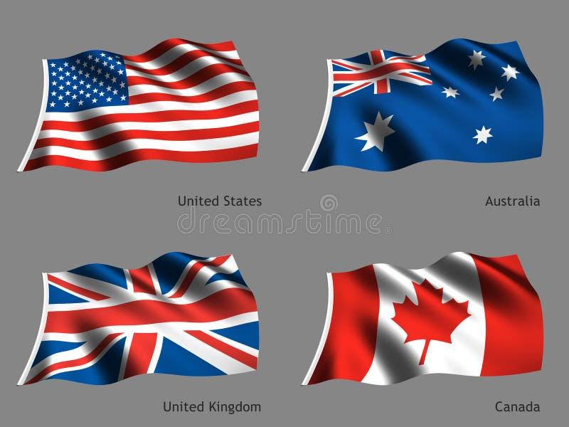 flaggaserievärld royaltyfri illustrationer