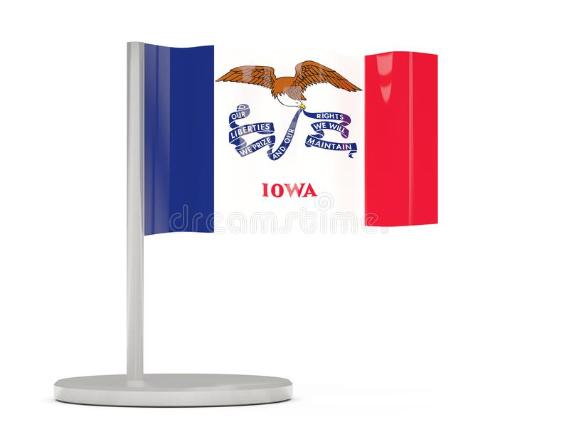 Flaggastift med flaggan av iowa Förenta staterna lokalflaggor royaltyfri illustrationer