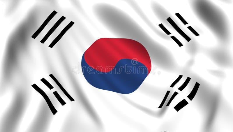 FlaggaSydkorea som vinkar i vindsilket vektor illustrationer