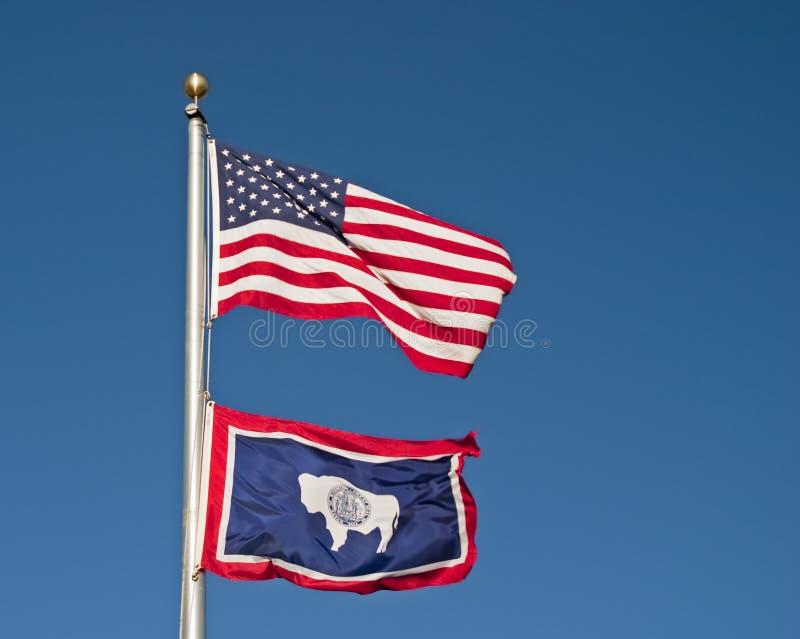 flaggatillstånd wyoming royaltyfri fotografi