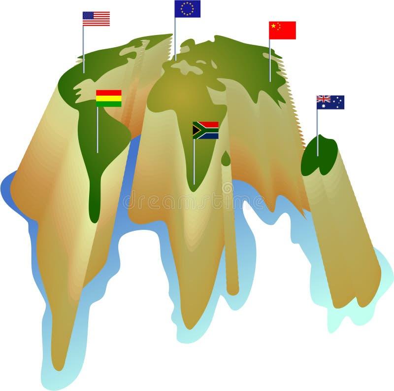 flaggavärld stock illustrationer