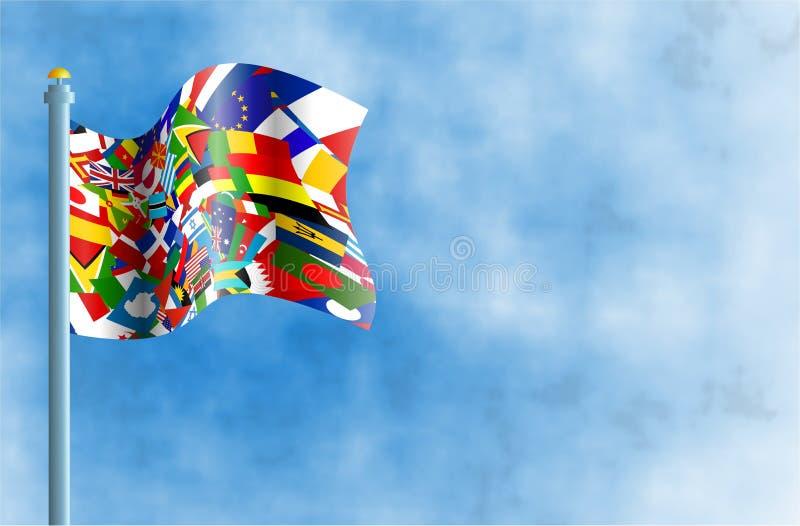 flaggavärld royaltyfri illustrationer
