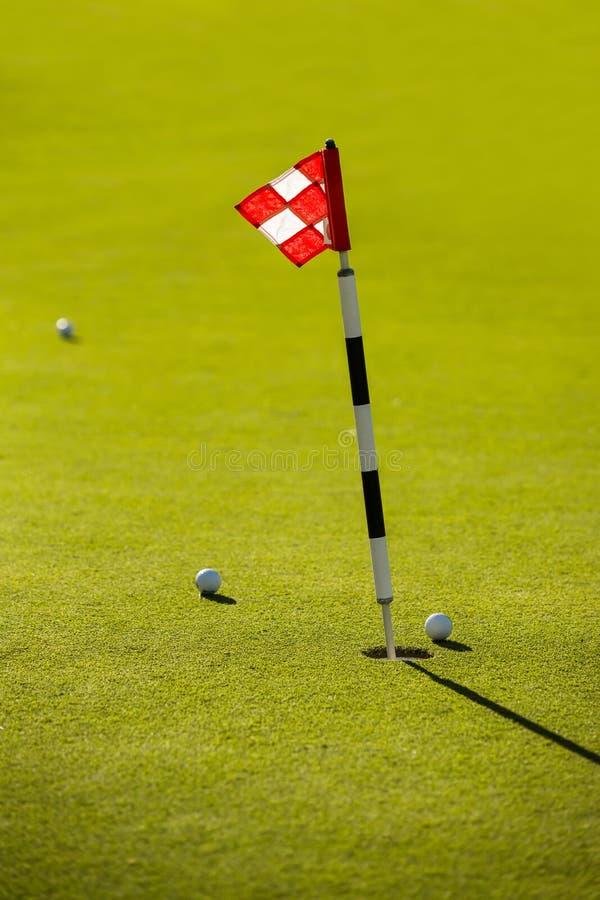 Flagge auf dem Golfplatz stockbilder