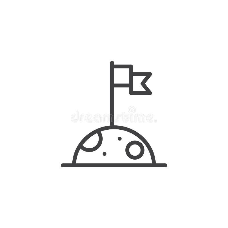 Flagge auf der Mondentwurfsikone stock abbildung