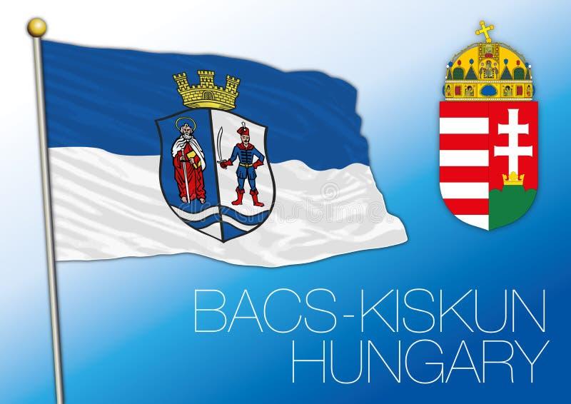 Flagge Bacs Kiskun, Regierungsbezirk, Ungarn stock abbildung