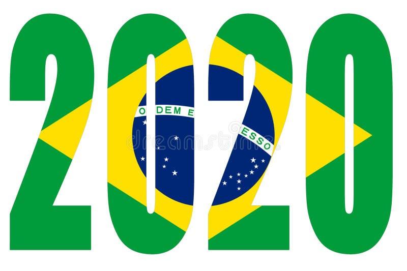 Flagge Brasiliens auf 2020 Buchstaben mit isoliertem Hintergrund lizenzfreie abbildung