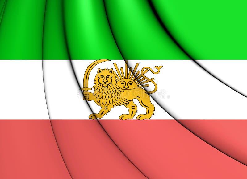 Flagge 3D vom Iran 1910-1925 Alter Löwe und Sun-Flagge stock abbildung