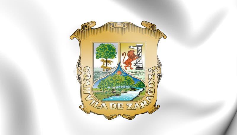 Flagge 3D von Coahuila, Mexiko stock abbildung