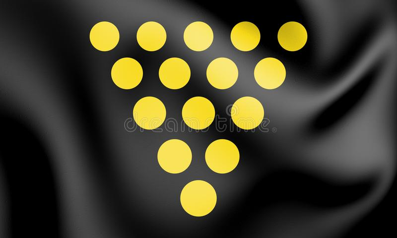 Flagge 3D von Herzog von Cornwall, England vektor abbildung