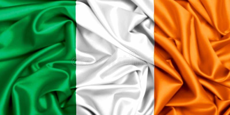 Flagge 3d von Irland wellenartig bewegend in den Wind lizenzfreie abbildung