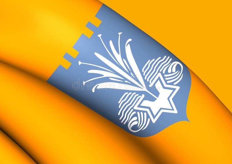 Flagge 3D von Netanja, Israel lizenzfreie abbildung