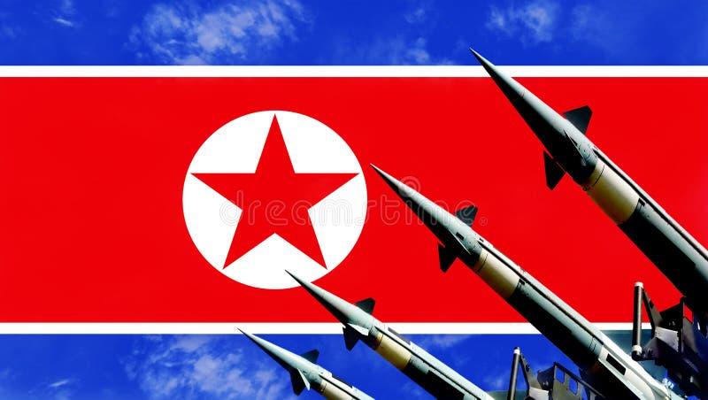 Flagge der Atomraketen und Nordkoreas im Hintergrund vektor abbildung