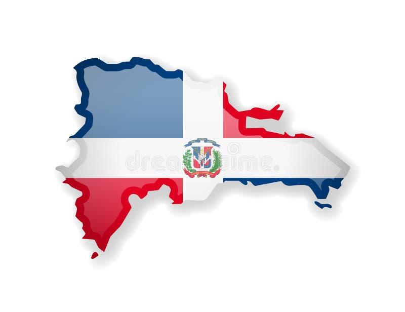 Flagge der Dominikanischen Republik und Entwurf des Landes auf einem weißen Hintergrund vektor abbildung