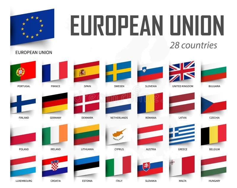 Flagge der Europäischen Gemeinschaft EU und Mitgliedschaft Europa-Karten-Hintergrund Vektor lizenzfreie abbildung
