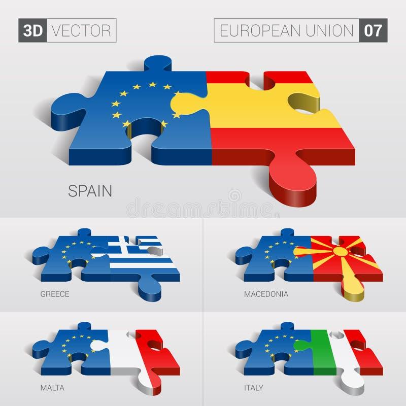 Flagge der Europäischen Gemeinschaft Puzzlespiel des Vektor3d Satz 07 stock abbildung
