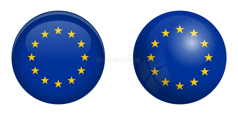 Flagge der Europäischen Gemeinschaft unter Knopf der Haube 3d und auf glattem Bereich/Ball stock abbildung