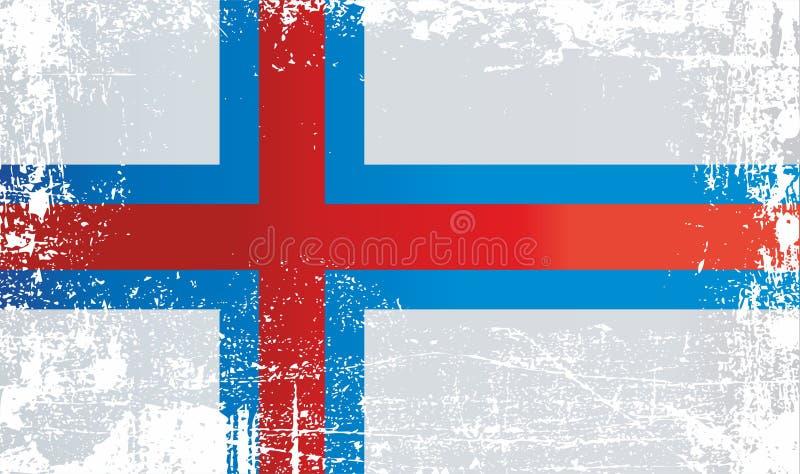 Flagge der Färöer, Dänemark Geknitterte schmutzige Stellen lizenzfreie abbildung