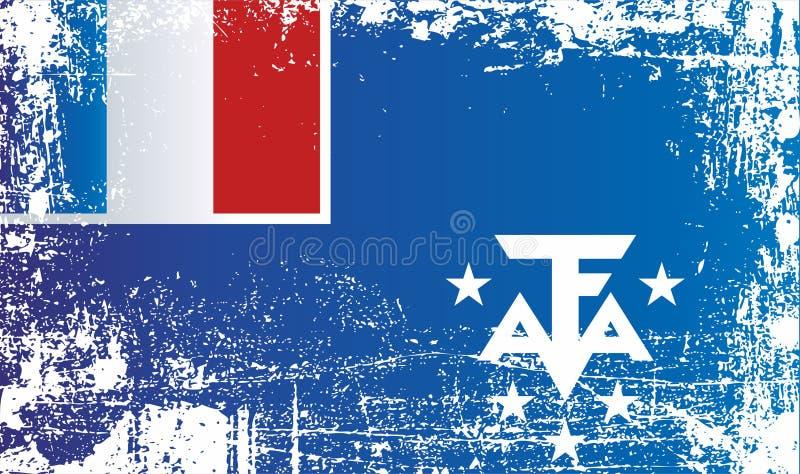 Flagge der Französische Süd- und Antarktisgebiete Geknitterte schmutzige Stellen lizenzfreie abbildung