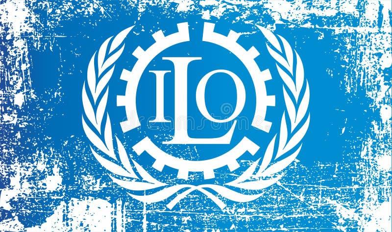 Flagge der Internationalen Arbeiterorganisation Geknitterte schmutzige Stellen vektor abbildung