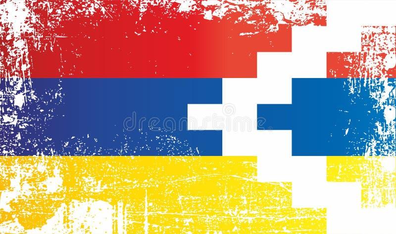 Flagge der Republik von Artsakh, geknitterte schmutzige Stellen vektor abbildung