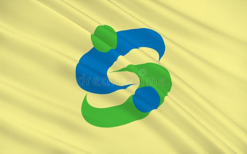 Flagge der Saga ist die Hauptstadt von Saga-Präfektur, Japan lizenzfreie abbildung