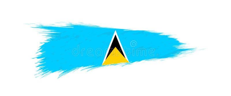 Flagge der St. Lucia im Schmutzbürstenanschlag vektor abbildung