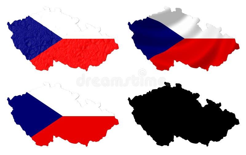 Flagge der Tschechischen Republik über Kartencollage lizenzfreie abbildung