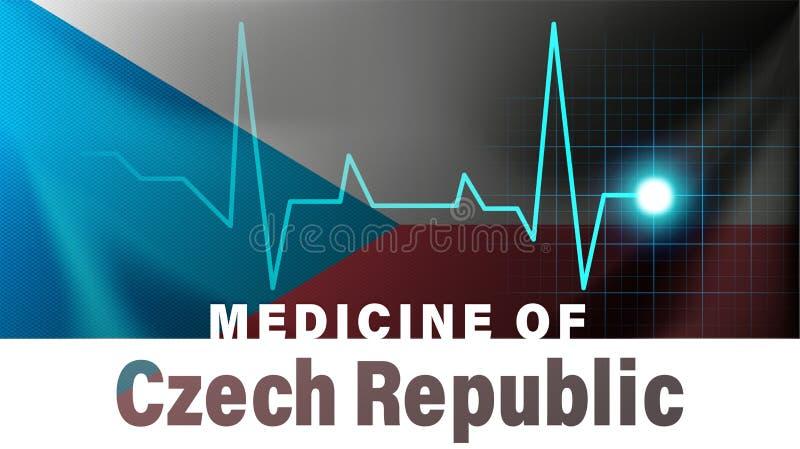 Flagge der Tschechischen Republik und Herzschlag Zeilendarstellung Medizin der Tschechischen Republik mit Ländernamen lizenzfreie abbildung