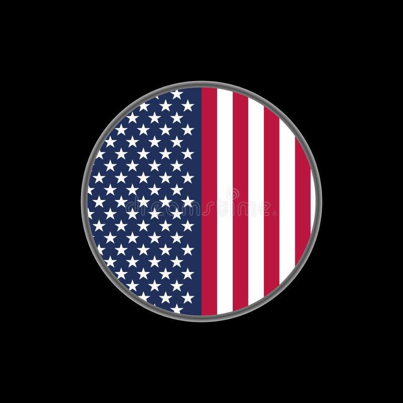Flagge der Vereinigten Staaten von Amerika auf Kreis lizenzfreie abbildung