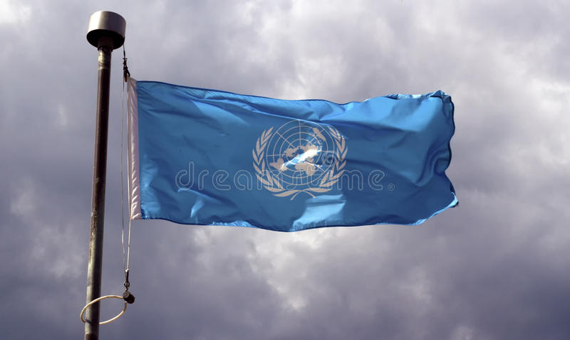 Flagge der Vereinten Nationen lizenzfreie stockfotos