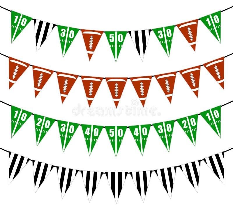 Flagge des amerikanischen Fußballs kennzeichnet Parteidekoration vektor abbildung