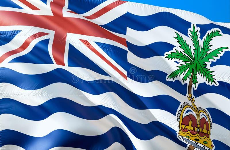 Flagge des Britischen Territoriums im Indischen Ozean wellenartig bewegendes Design der Flagge 3D Das nationale Sonderzeichen des lizenzfreie abbildung