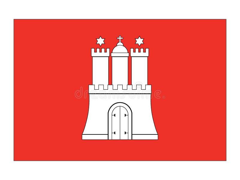 Flagge des deutschen Staats von Hamburg stock abbildung
