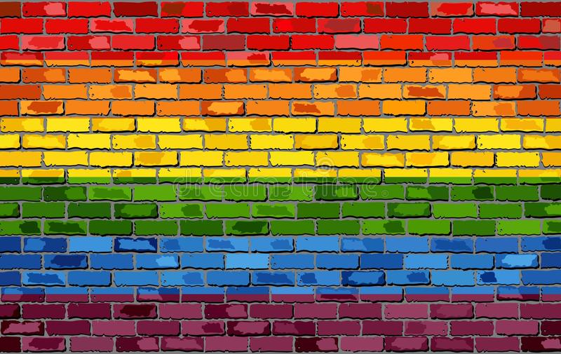 Flagge des homosexuellen Stolzes auf einer Backsteinmauer vektor abbildung