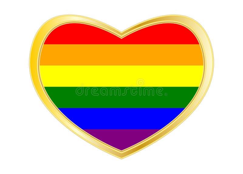 Flagge des homosexuellen Stolzes des Regenbogens im goldenen Rahmen der Herzform stock abbildung