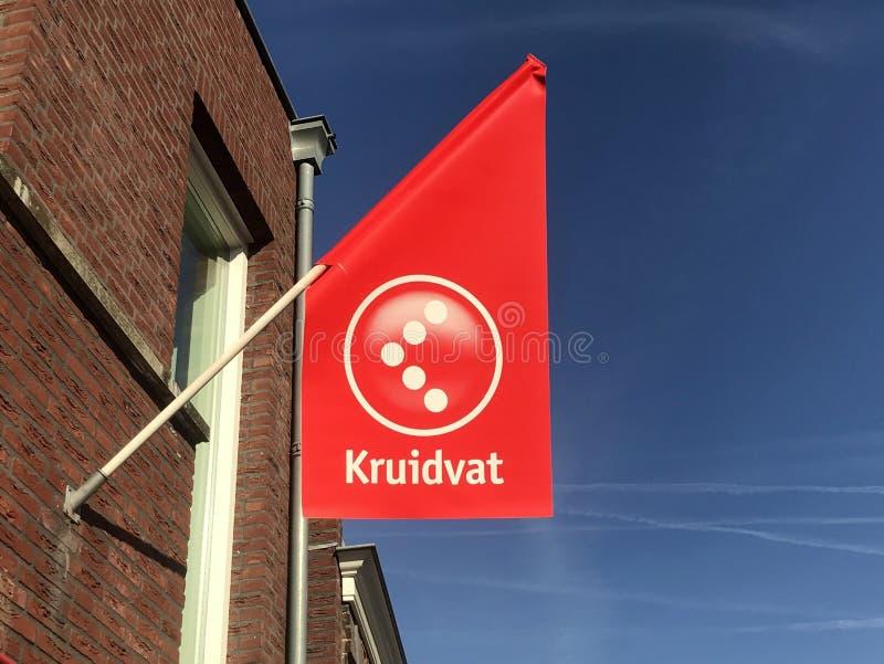Flagge des niederländischen Drugstores Kruidvat stockbild