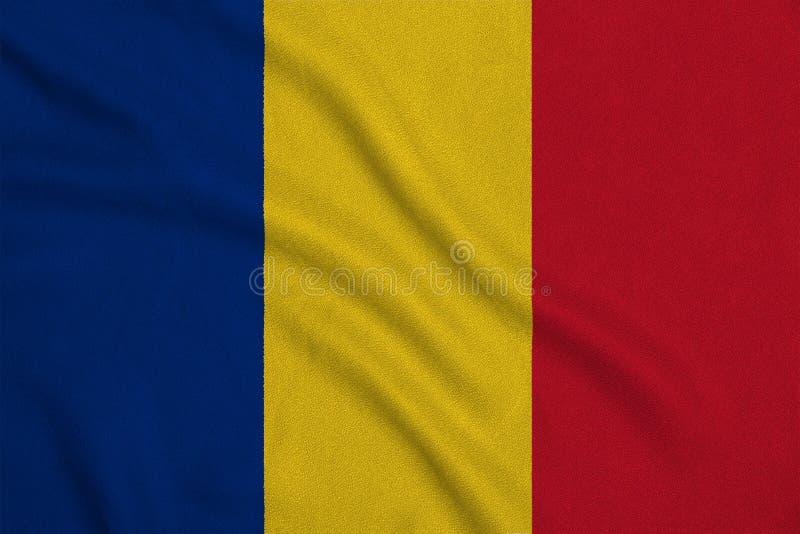 Flagge des Rumäniens von der Fabrikmaschenware Hintergründe und Beschaffenheiten lizenzfreie abbildung