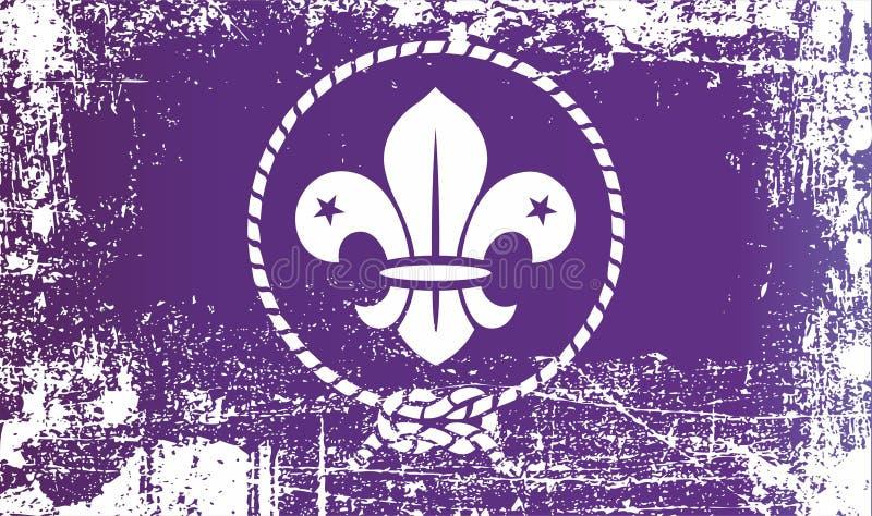 Flagge des Weltpfadfinders, Weltorganisation des Pfadfinders Movement Geknitterte schmutzige Stellen lizenzfreie abbildung