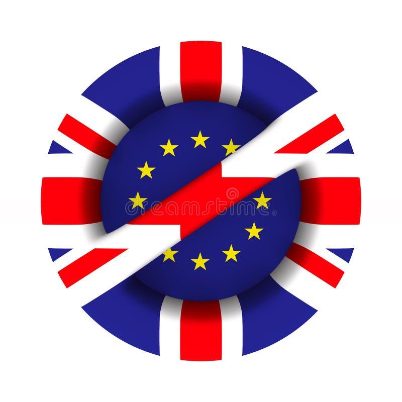 Flagge EU und Großbritannien und Zeichen verboten auf weißem Hintergrund Lokalisierte Illustration 3d lizenzfreie abbildung