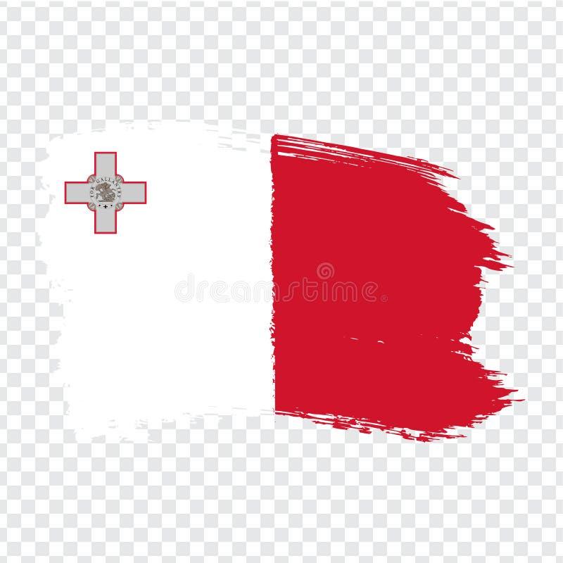 Flagge Malta von den Bürstenanschlägen Transparenter Hintergrund Flaggen-Maltas für Ihren Websiteentwurf, Logo, App, UI vektor abbildung