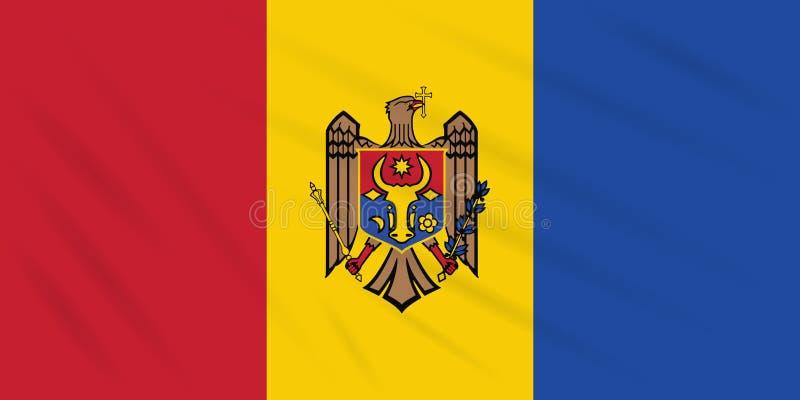 Flagge Moldau - Rückseite, die in Windvektor beeinflußt lizenzfreie abbildung