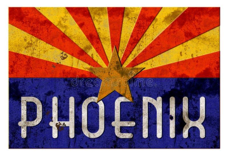 Flagge Phoenix-Straßenschild Grung Arizona lizenzfreie abbildung