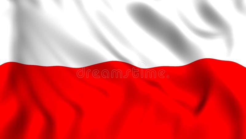 Flagge Polen, das in den Wind wellenartig bewegt lizenzfreie abbildung