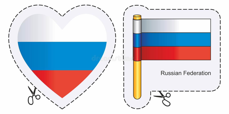 Flagge Russland Vektorschnittzeichen hier, lokalisiert auf Weiß Kann für Entwurf, Aufkleber, Andenken verwendet werden stock abbildung