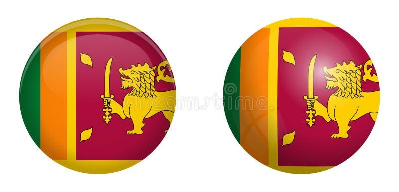 Flagge Sri Lankas Ceylon unter Knopf der Haube 3d und auf glattem Bereich/Ball lizenzfreie abbildung