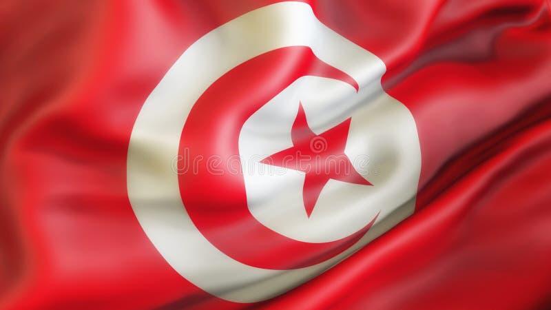 Flagge, Tunesien Aufgeben der Flagge von Tunesien lizenzfreie abbildung