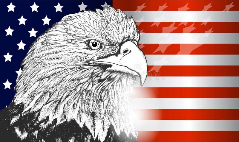 Flagge- und Adlersymbol von USA, von Unabhängigkeit und von Freiheit stock abbildung