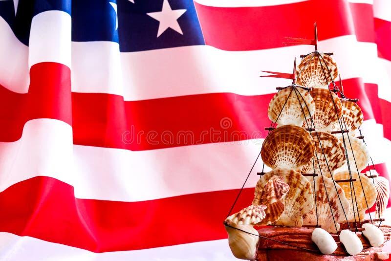 Flagge und Boot Columbus Days USA 10. Oktober in den Vereinigten Staaten stockfoto