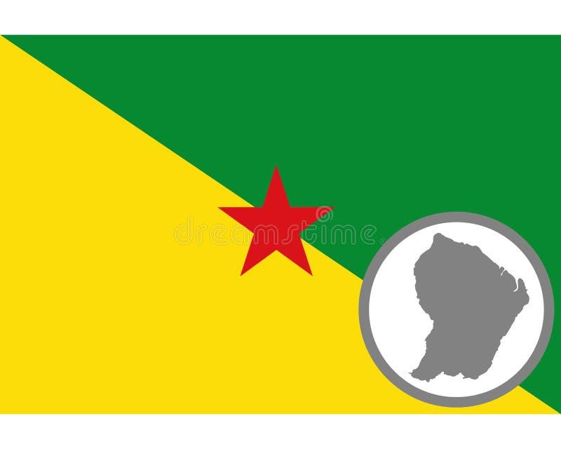 Flagge und Karte Französisch-Guayana lizenzfreie abbildung